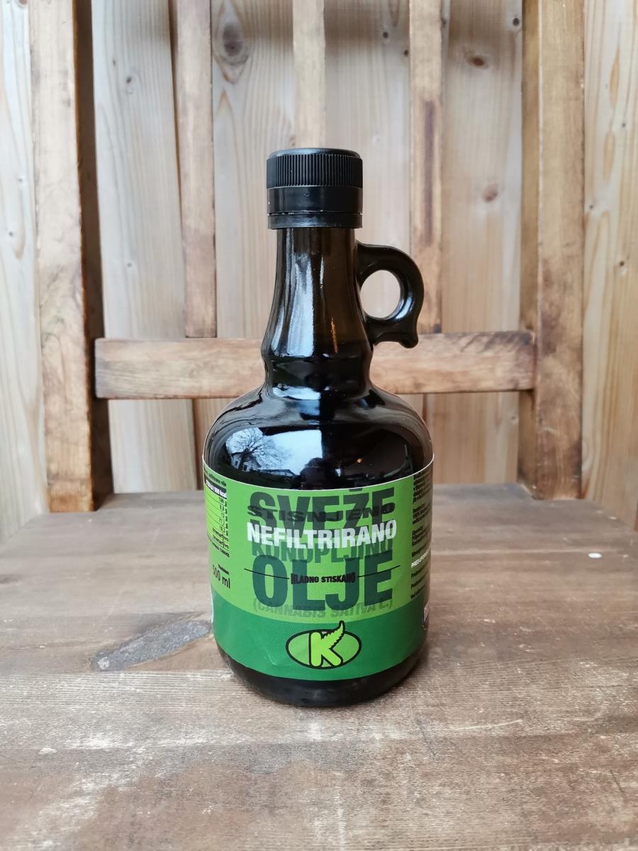 Ekološko nefiltrirano konopljino olje, 250ml